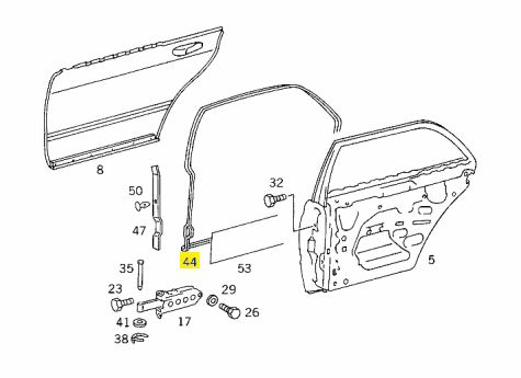 1267300278 W126 SWB Right Rear Door Weather Strip €75.00 Chassis